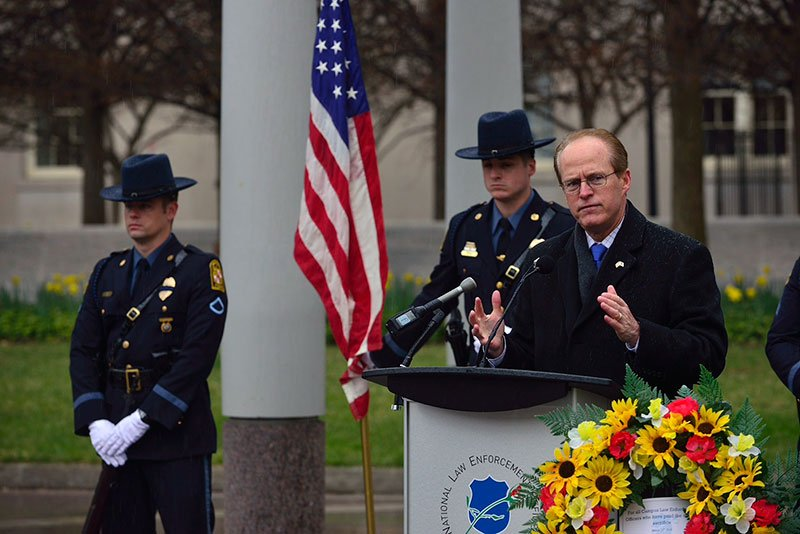 "National Law Enforcement Officers Memorial President and CEO Craig Floyd paid tribute to all fallen officers, but on this day, especially, campus police officers. ""We honor them because they served this country well,"" Floyd said. He said that he thanked the chief at the Arizona State University Police Department, his daughter's university, for keeping her safe when she was 2,500 miles from home."