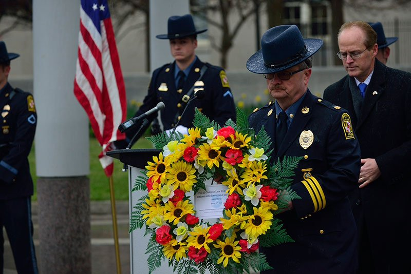 Wreath dedication to the fallen officers.