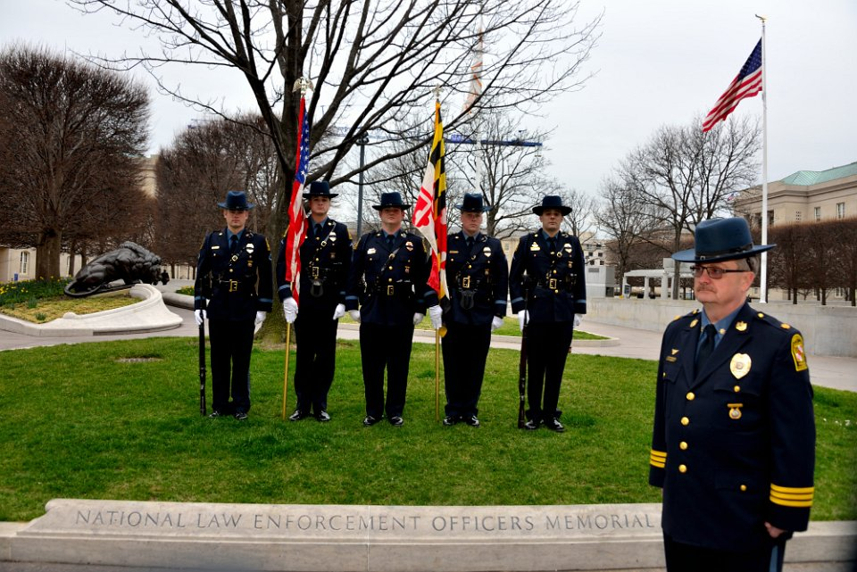 The University of Maryland Police Department Honor Guard awaits the start of IACLEA's ceremony to honor fallen officers at the National Law Enforcement Officers Memorial, in Washington, DC, March 10, 2017.