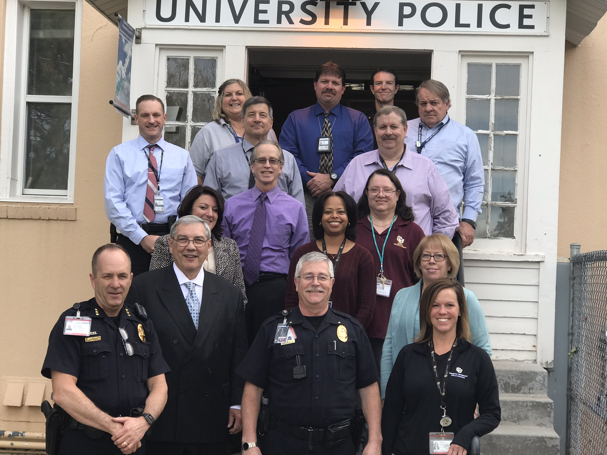 Officers and personnel with IACLEA Accredited agency University of Colorado Denver-Anschutz Medical Campus are all smiles after their successful onsite assessment by an IACLEA team of experts.
