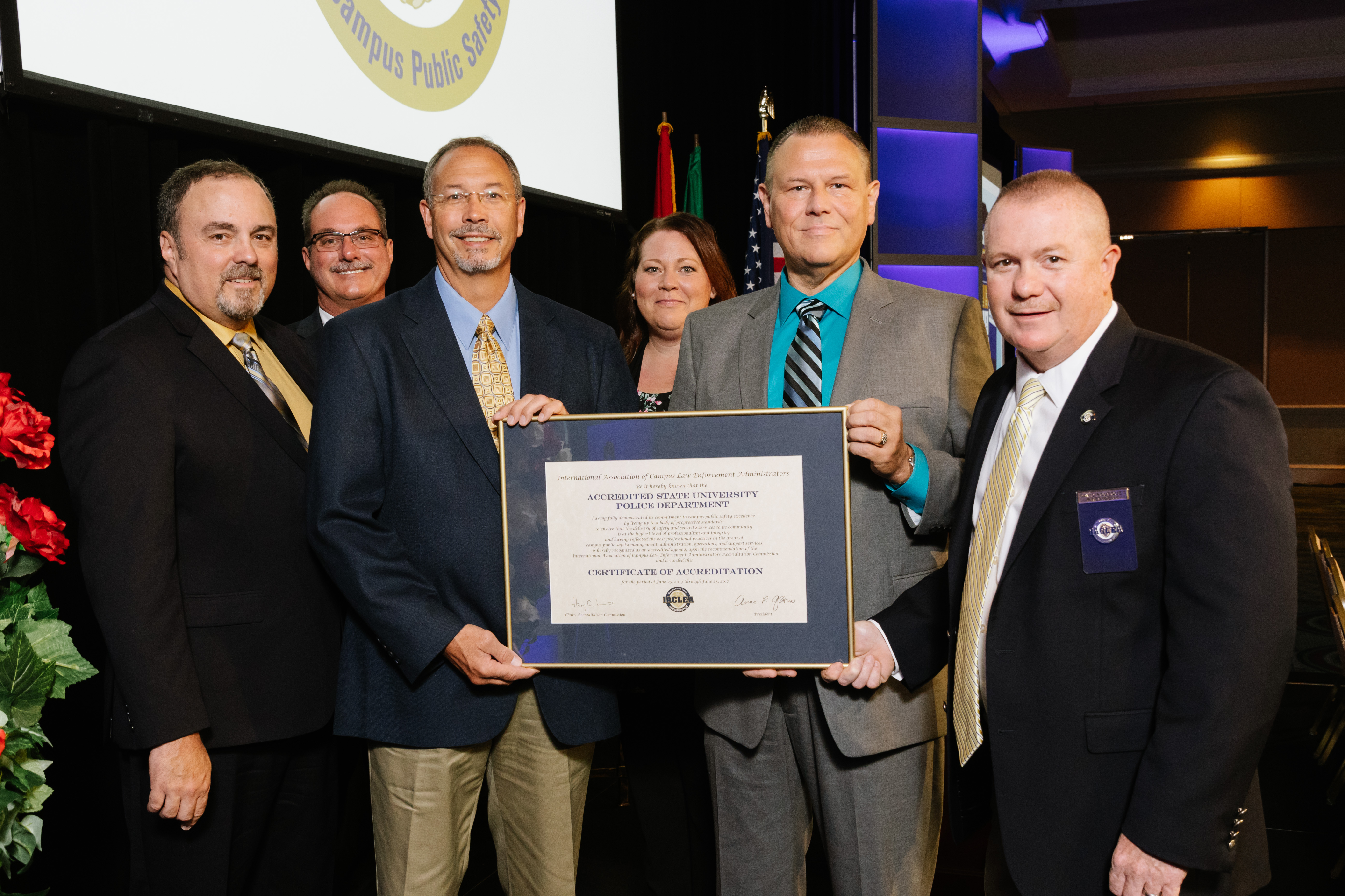 Representatives of the College of Lake County (Illinois) Police Department accepted their IACLEA Accreditation Award at the 2018 Annual Conference & Exposition. © Mike Ritter